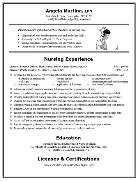 Resume Templates For Lpn Nurses Resume Sle For Lpn