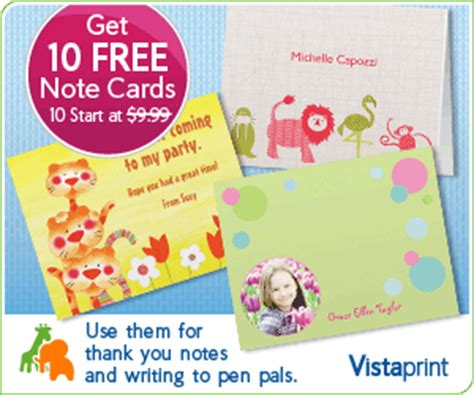 vistaprint note card template vistaprint 10 free note cards pay shipping only