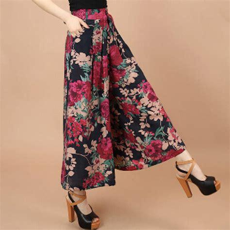 Setelan Dress plus size summer print flower pattern wide leg linen dress casual skirt jpg