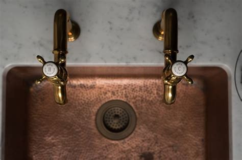 beautiful vintage inspired devol aged brass taps  perrin