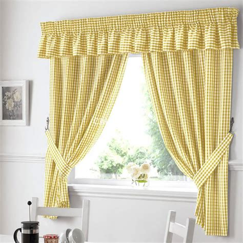 Curtain Valances For Kitchens Gingham Ready Made Kitchen Curtains In Yellow