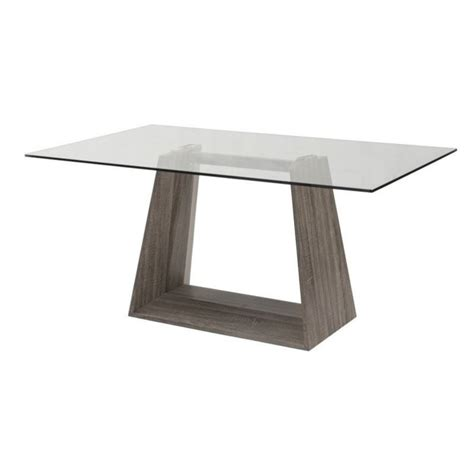 Armen Living Bravo Glass Top Rectangular Dining Table In Rectangular Glass Top Dining Table