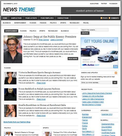 newspaper theme word 2010 studiopress news wordpress theme new version dobeweb