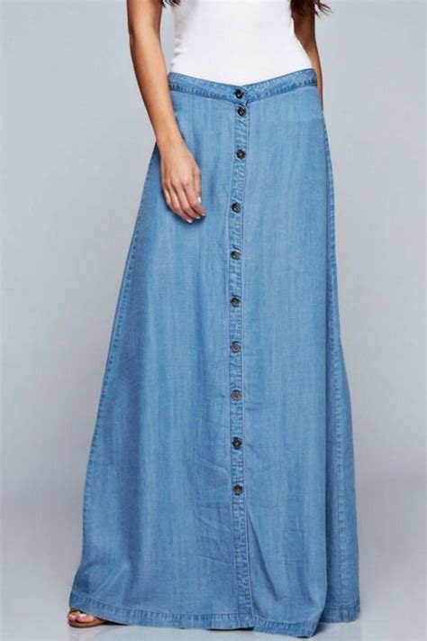 denim spot tencel maxi skirt from california shoptiques