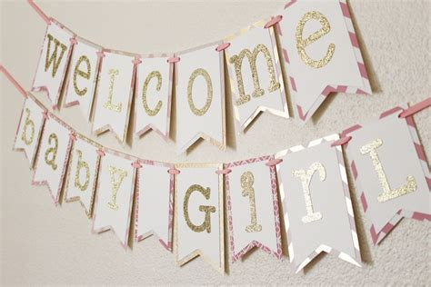 Baby Shower Banner by Pink And Gold Baby Shower Banner Welcome Baby