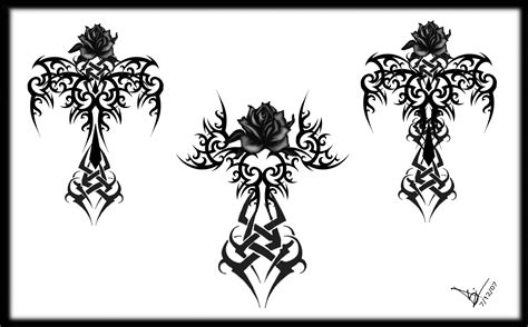 gothic flower tattoo designs tribal cross