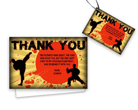 thank you letter to karate karate thank you cards boys karate birthday thank