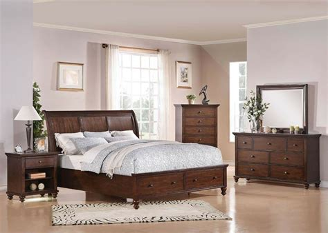 bedroom furniture king  queen size pcs bed set  brown cherry finish bed set ebay