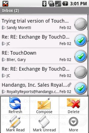 touchdown android touchdown to bring push e mail to android intomobile