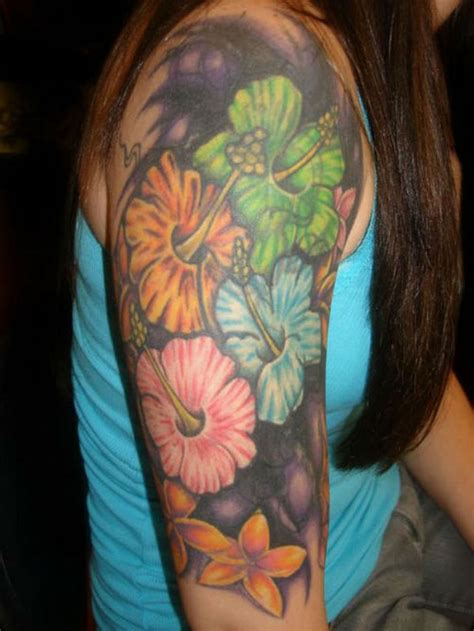 hawaiian quarter sleeve tattoo half sleeve hawaiian flowers tattoo for girls tattoos