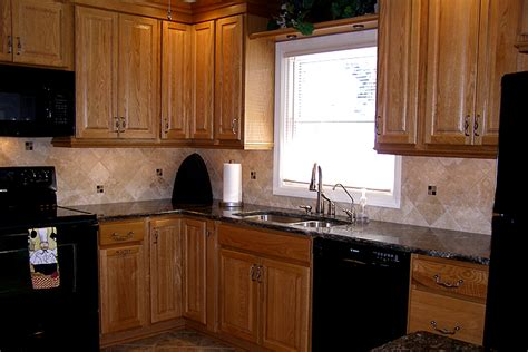 oak kitchen cabinets with granite countertop