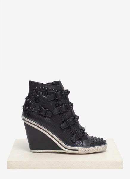 stud wedge sneakers ash tanagra studded snake effect leather wedge sneakers in