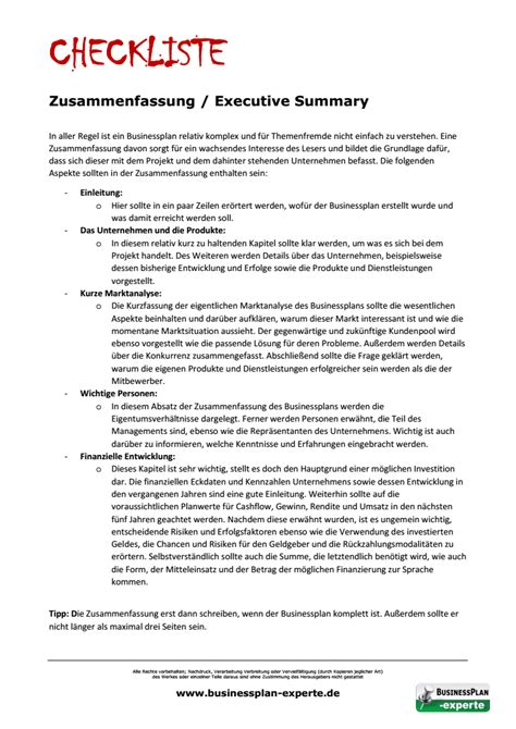 Executive Summary Examples For Resume by Executive Summary Businessplan Experte