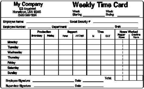 basic time card template free printable simple timecard trials ireland