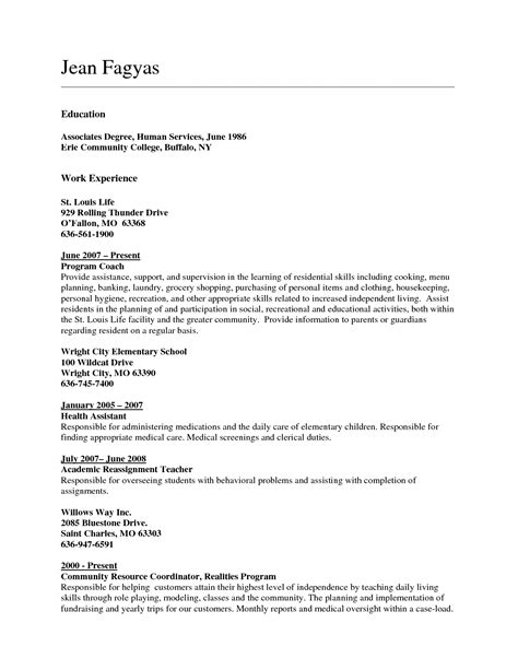 Resume Sles For Education Majors Associates Degree On Resume Exles Resume Format 2017
