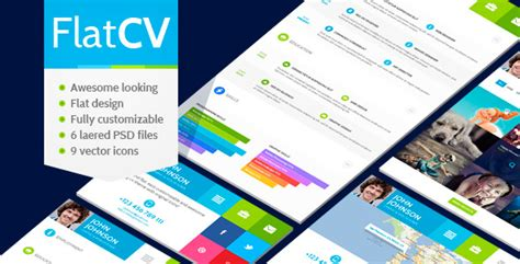themeforest business cards flatcv vcard resume psd template by themerex themeforest