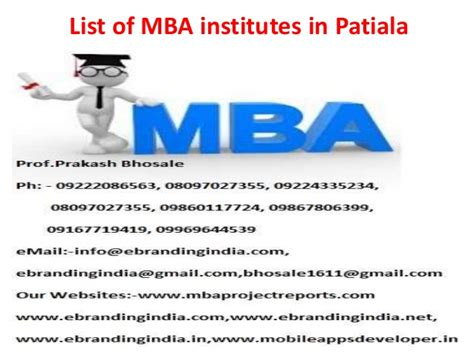 Of Ta Mba by List Of Mba Institutes In Patiala