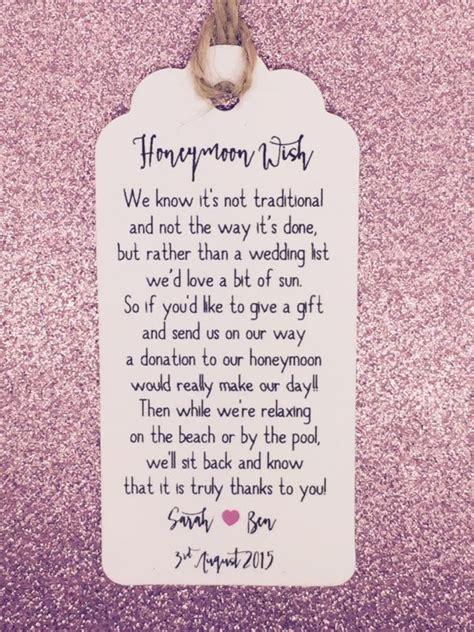 Wedding Registry Honeymoon Fund by Wedding Honeymoon Fund Money Request Poem Card Favour