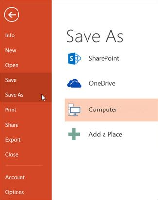 save your presentation file powerpoint