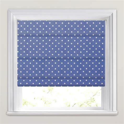 blue patterned blinds rich cornflower blue white polka pot patterned roman blinds