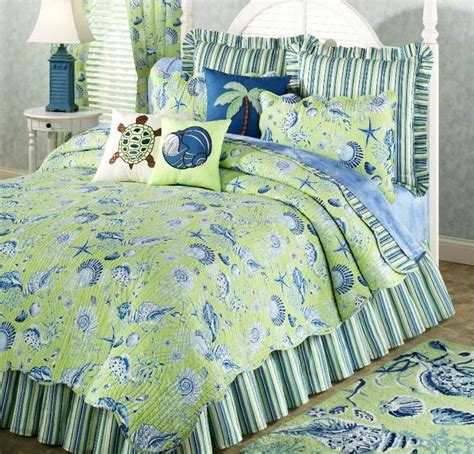 beachy bedding green shell full queen quilt set tropical ocean beach