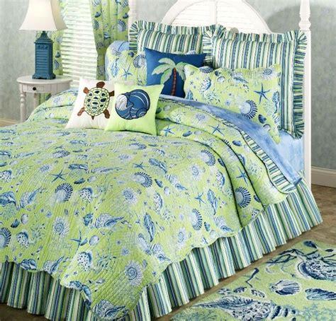 beach bedding green shell full queen quilt set tropical ocean beach