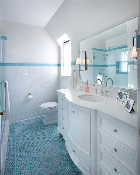 Colored subway tile bathroom traditional with white