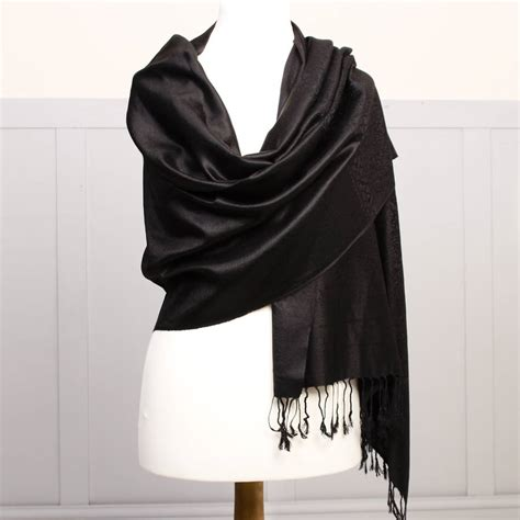Pashmina Black midnight black pashmina shawl by dibor notonthehighstreet