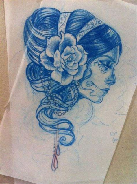 gypsy girl tattoo flower day of the dead drawing