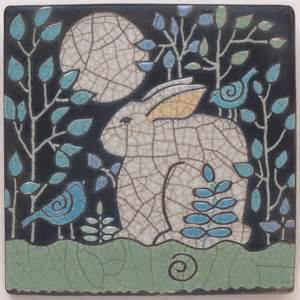 rabbit bunny and birds 6x6 raku fired art tile handmade