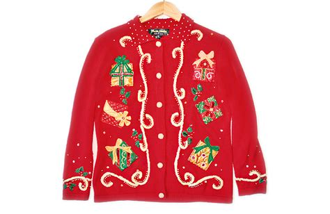 beaded gifts tacky ugly christmas sweater cardigan women