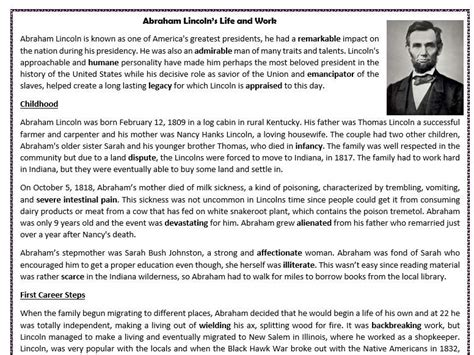 biography of abraham lincoln worksheet abraham lincoln s life and work reading comprehension