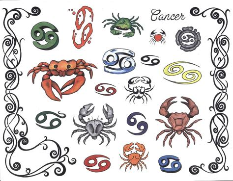 astrological tattoo designs colorful zodiac cancer tattoos designs