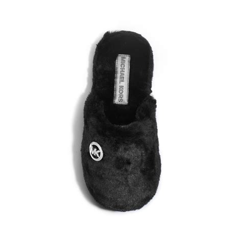 michael kors slippers lyst michael kors jet set faux fur slipper in black