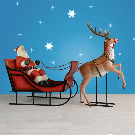 120 quot wide life sized sleigh rearing reindeer