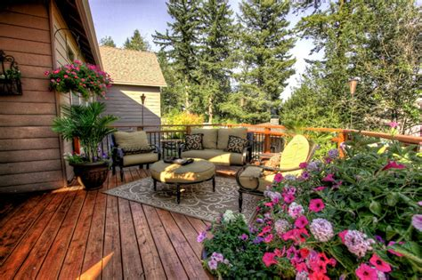 deck furniture layout portland landscaping outdoor living traditional deck