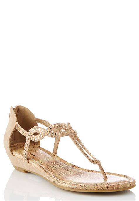 wide with sandals wide width embellished wedge sandals wide width cato fashions