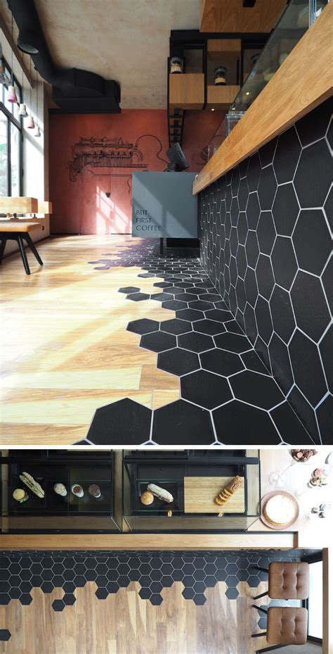 Flooring Shops Hexagon Tiles Transition Into Wood Flooring Inside This