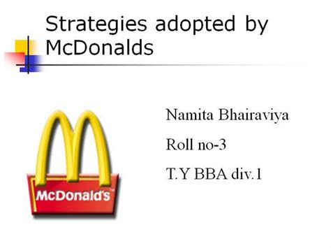 strategies adopted by mcdonalds authorstream