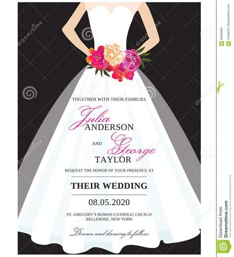 bridal shower invitation wedding gown wedding invitation card with wedding dress stock vector illustration of orange 69484904
