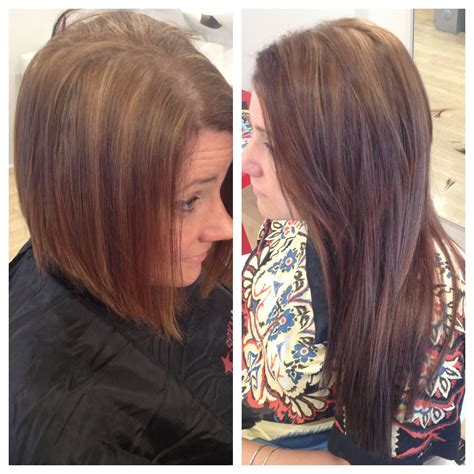 shhort bob glue in extension bkack haur short hair to long hair with babe tape in extensions by