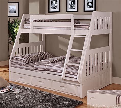 bunk bed world discovery world furniture twin over full white mission