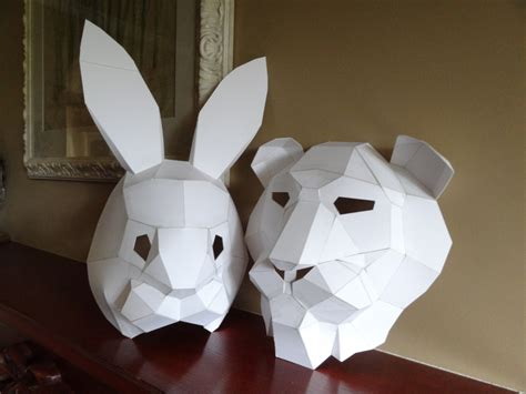 cardboard mask template pdf pattern make your own mask rabbit mask instant