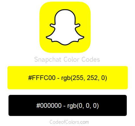 snapchat colors hex and rgb color codes