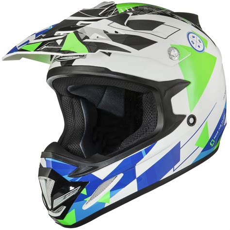 green motocross helmet shox mx 1 delta blue silver green motocross helmet acu