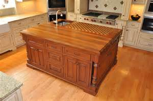 furniture dark wood butcher block island with light
