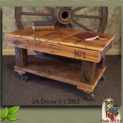 Cart Style Coffee Table Factory Cart Coffee Table Antique Style Reclaimed Wood By Iadecor