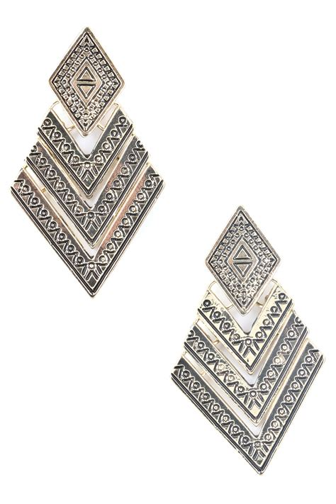 Metal Drop Hook Earrings textured metal chevron dangle earring earrings