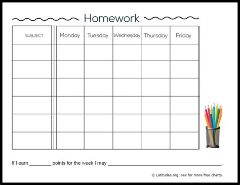printable homework schedule image gallery homework chart printables