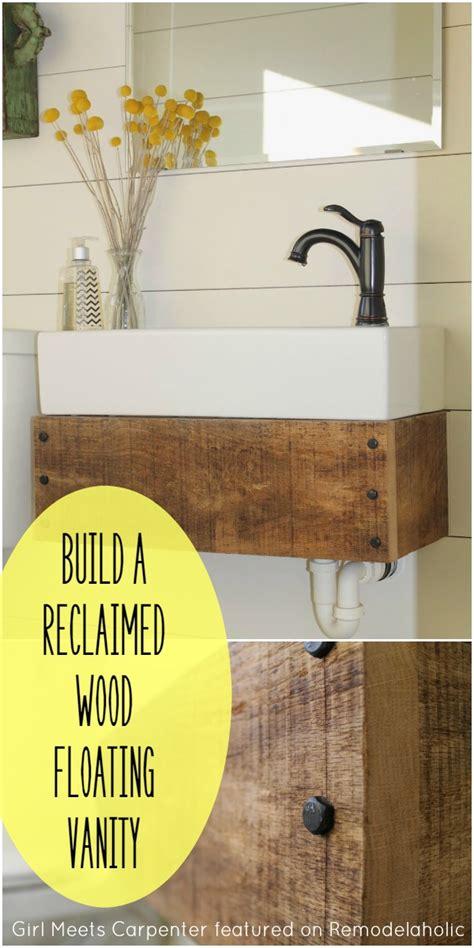 build a floating vanity reclaimed wood floating vanity remodelaholic bloglovin